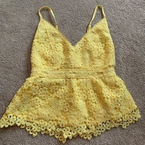 NWOT yellow floral lace tank top